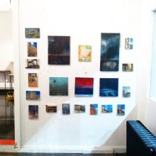 My Drab Wall of Paintings at Erabellum for the January 2016 Art Crawl