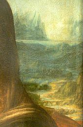 Image: detail on the right background of da Vinci's Mona Lisa, showing the hazy technique known as sfumato