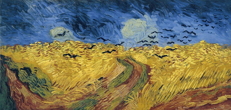 "Vincent van Gogh, ""Wheatfield with Crows,"" 1890. 50.2 cm × 103 cm (19.9 in × 40.6 in). Van Gogh Museum, Amsterdam"