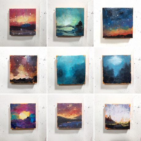 9 of the 40 abstracts I'm painting in the days leading up to December 7, 2018