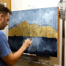 "Still from time-lapse video of painting ""Hope"" with acrylic paint and gold leaf."