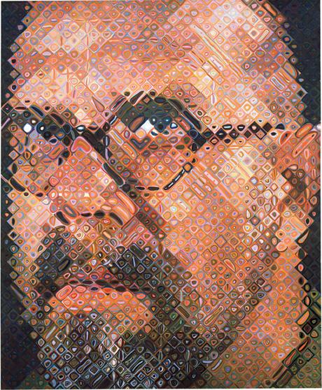 "Chuck Close. Self-Portrait, 1997. oil on canvas, 102 x 84"" (259.1 x 213.4 cm)."