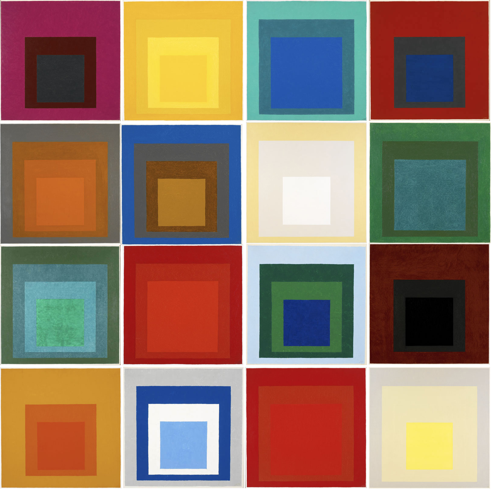 Several of Albers' paintings of nested squares that explored color relationships.