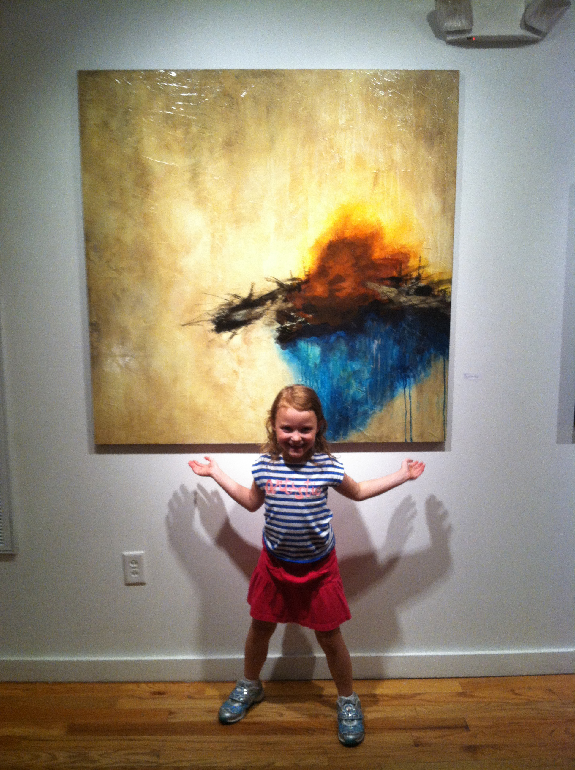 Annie with One of Alex Hall's Paintings at Rymer Gallery