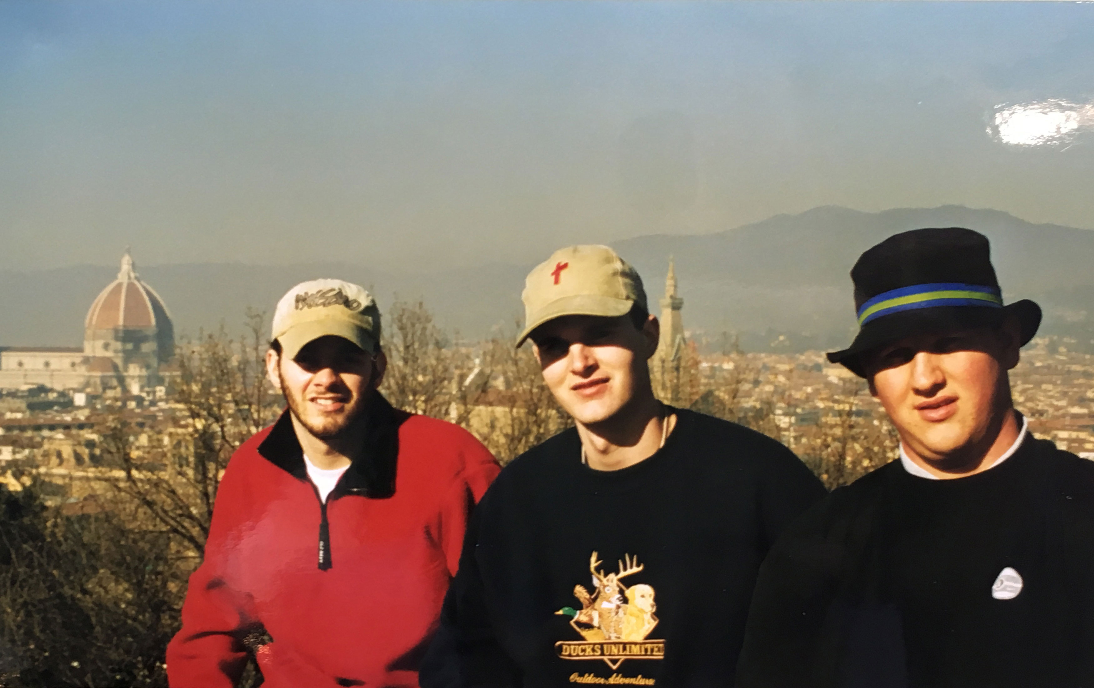 First Time at Piazza Michelangelo on the outskirts of Florence. L-R: Me, Patrick, Chris. Behind us you can see the famous Duomo, Cattedrale di Santa Maria del Fiore.