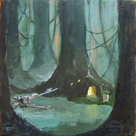 "Brad Blackman, ""Dagobah,"" 2017. Acrylic on canvas, 8x8 inches"