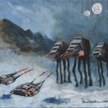 Brad Blackman - The Battle of Hoth, acrylic on canvas, 2015. 14 x 11 inches