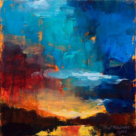 Abstract sunrise painting with blue and red sky
