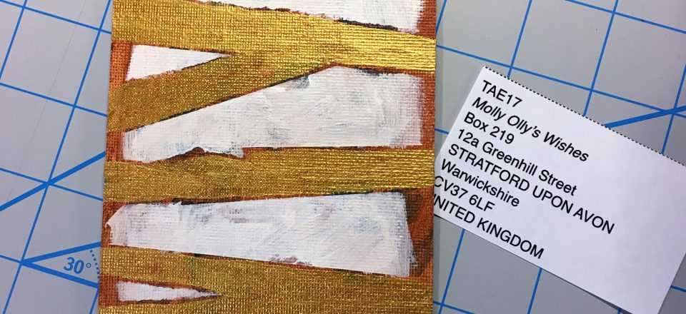 Postcard-sized abstract painting of gold bars on a white field with a brown border