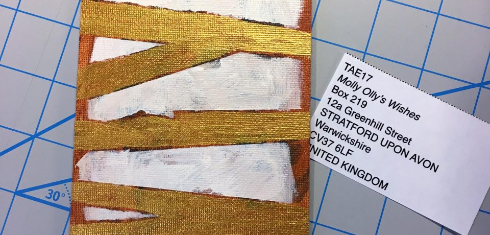 """Wrapped,"" Brad Blackman, Acrylic on canvas board. 4x6 inches, 2017."