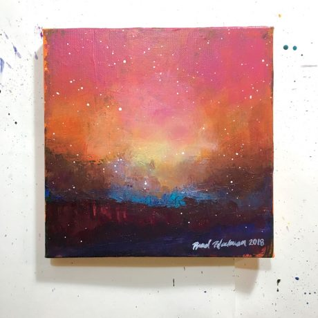 Abstract landscape with pink and orange sky