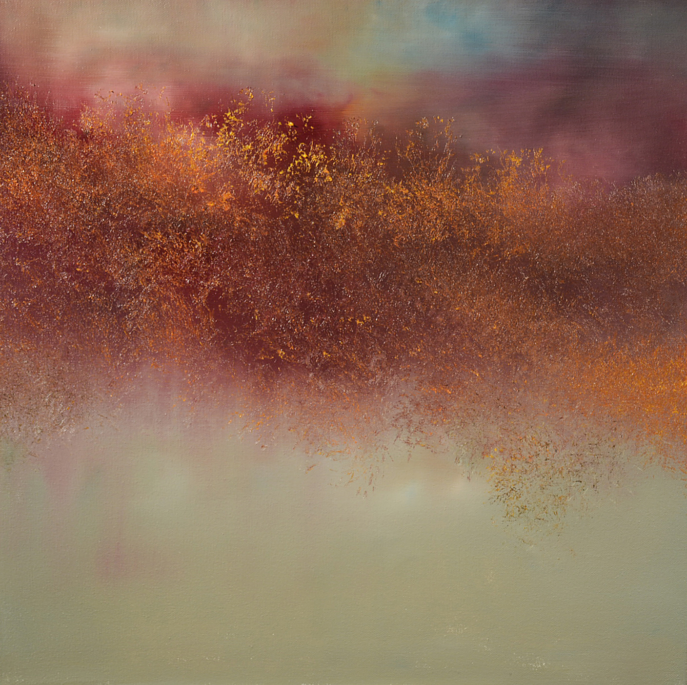 "Maurice Sapiro ""Mauve And Gold"" oil on canvas 20""x20"""
