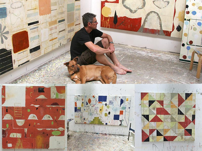 Nicholas Wilton in the studio and works in progress