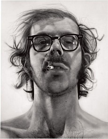"Chuck Close. Big Self-Portrait, 1967-1968. acrylic on canvas, 107-1/2"" x 83-1/2"" (273 cm x 212.1 cm)."