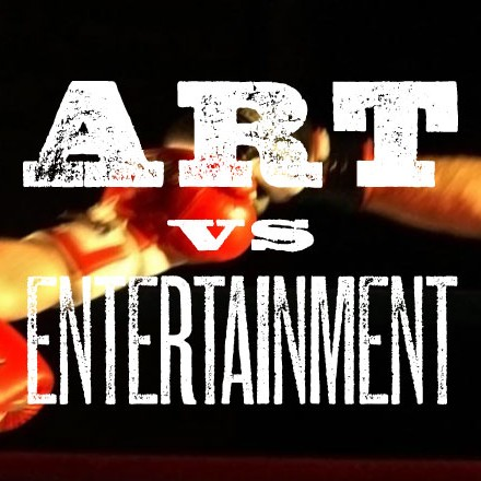 Image: two boxers' gloved hands meeting behind headline Art vs Entertainment
