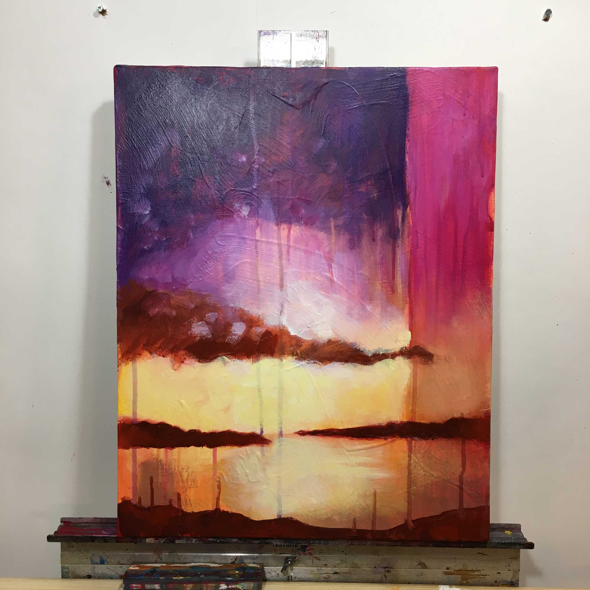 Abstract Sunrise painting - in progress