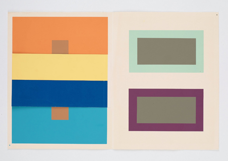 My own college professors mimicked Albers' methods for teaching color theory. We did this exact exercise. The two little squares are the same color, but appear very different from each other due to the surrounding colors. The same for the gray box inside the mint green and aubergine rectangles.