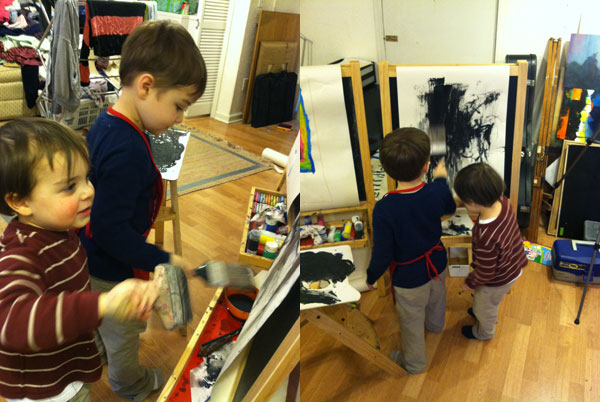 The boys love mixing all the paints together