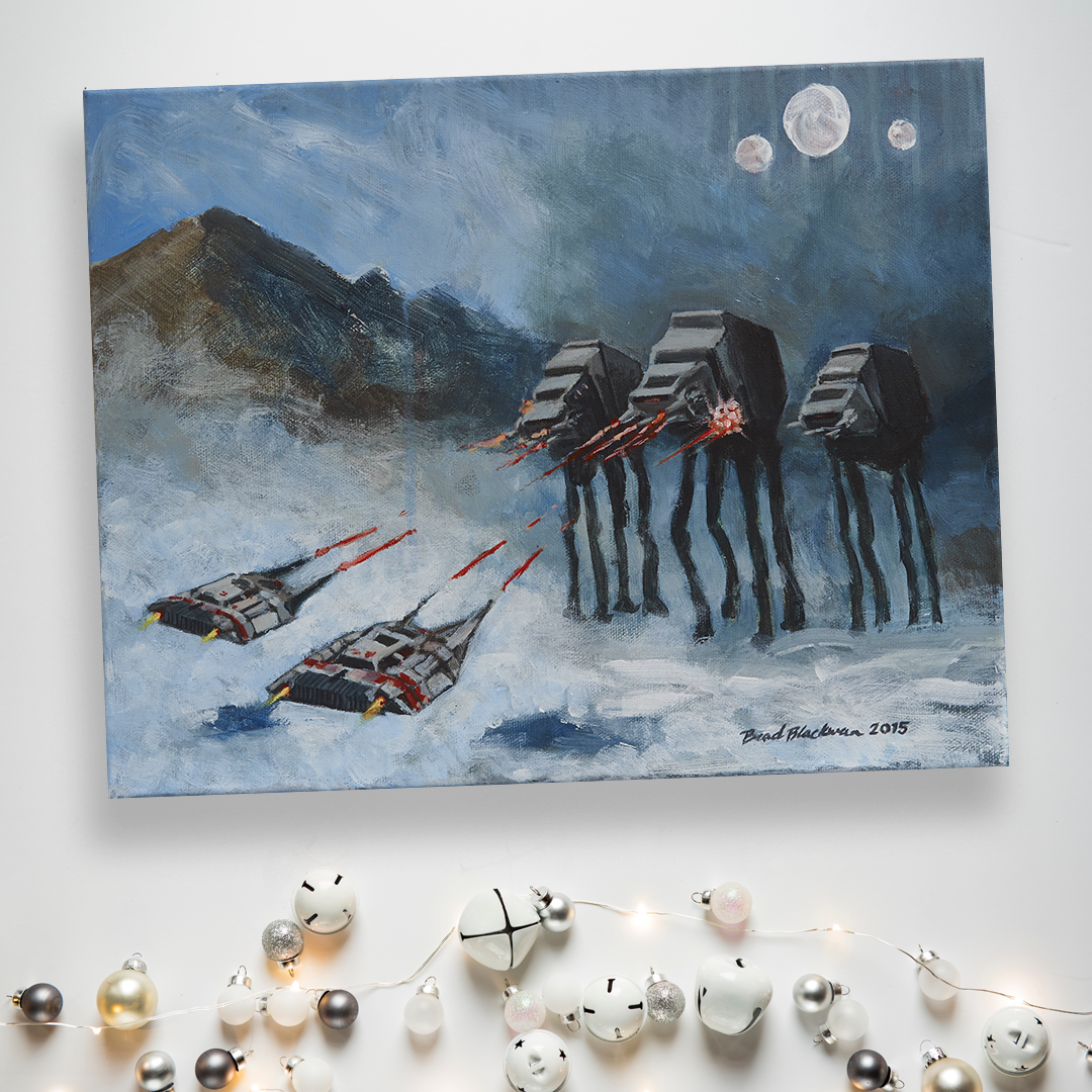 """Hoth"" painting surrounded by jingle bells and twinkle lights"