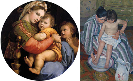 Two takes on mother (or Madonna) and child. One Renaissance, one modern.