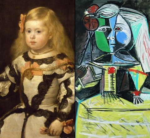 Image: Velasquez' rendition of la Infanta Margherita, and Picasso's highly stylized remix