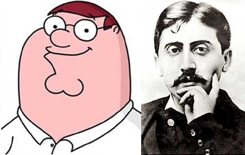 Image: Split picture of Peter Griffin and Marcel Proust