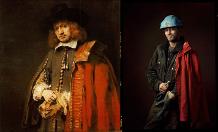 Image: recreation of a Rembrandt painting with modern photography