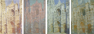 Image: four of Monet's Rouen Cathedral