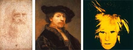 Image: Self-portraits by Leonardo da Vinci, Rembrandt van Rijn, and Andy Warhol
