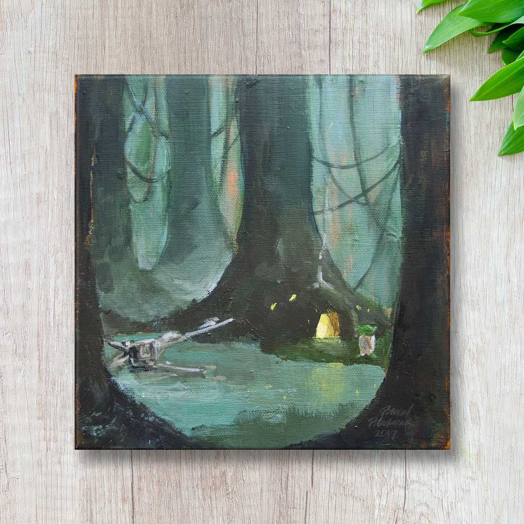 """""""Yoda"""" commissioned painting, against a textured tan wall"""
