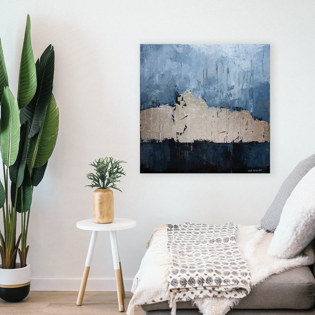 "Brad Blackman's custom painting ""Silver Lining,"" shown in a living room."