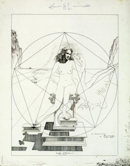 Salvador Dali's sketch for Leda Atomica, 1949 uses the Golden Section in the form of a pentagram and triangles.