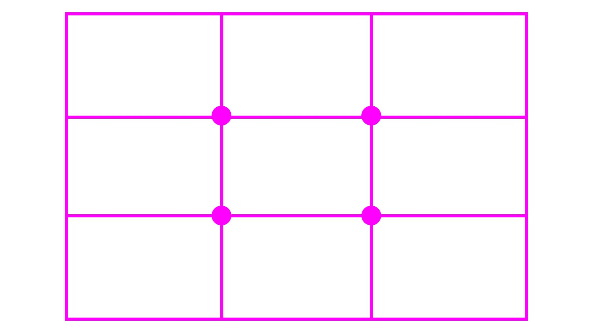 The rule of thirds: divide the canvas into thirds, and place the most important element at one of the intersections.